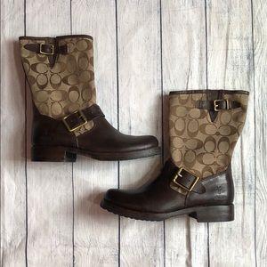 Frye X Coach Monogram Leather Boots sz 5.5